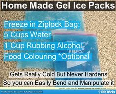 Home Made Gel Ice Packs - This is awesome! My back got sunburned so I got one of those huge ziploc bags they have for storing toys and made a huge version of this and laid on top of it.