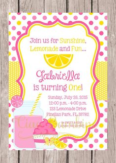 Items similar to PRINTABLE Pink Lemonade Birthday Party Invitation / Pink and Yellow Lemonade Party / Cute Summer Party Theme / You Print on Etsy - Modern Watermelon Birthday Parties, Summer Birthday, Baby First Birthday, First Birthday Parties, First Birthdays, Pink Birthday, 8th Birthday, Unicorn Birthday, Happy Birthday