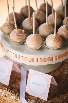Almond cake pops. Love the white lacquer platter!