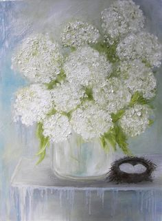 The original 18x24 of this White Hydrangea painting sold within hours of listing it! So excited! If you would like a custom painting of this piece please allow two weeks for completion and for drying.