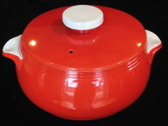 HALL CHINESE RED TAB-HANDLED CASSEROLE & LID