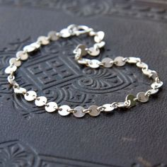 TINY DOTS BRACELET Simple Dainty Circle Link Chain by burnish, $30.00