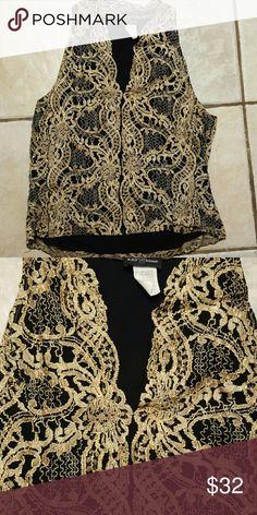 Kay Celine lace tank Kay Celine gold lace with black underlay slvless  v nck XL but I think fits like a Med Kay Celine  Tops