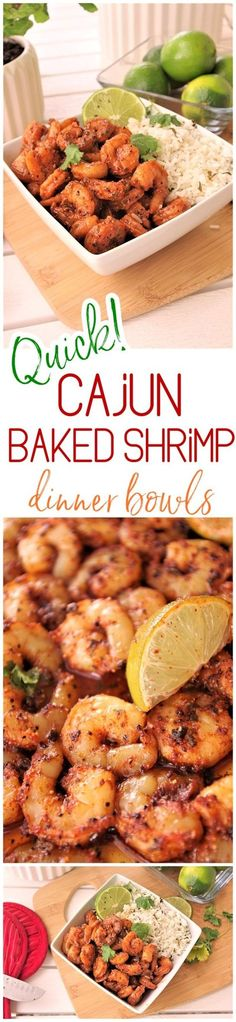 Quick and Easy Cajun Baked Sheet Pan Shrimp Bowls Lunch or Dinner Family Style Recipe - Use it in tacos, meal prep bowls, or over rice or noodles. So versatile and the flavor is so yummy you'll want to eat the entire pan by itself! Dreaming in DIY Seafood Dishes, Seafood Recipes, Lobster Recipes, Seafood Pasta, Cajun Recipes, Fish Recipes, Shrimp Dinner Recipes, Shrimp And Rice Recipes, Seafood Meals