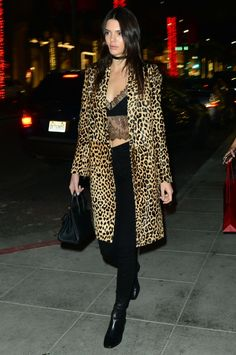 Kendall Jenner wearing Sharon Wauchob Resort 2015, Hermes Birkin Bag, Sandro Amele Boots, Theperfext Leopard Calf Hair York Coat and L'Agence Margot High Rise Skinny Jeans in Noir