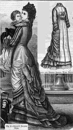 Plain and striped zephyr wool dress, Harper's Bazaar- 1877