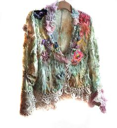 Unique Lace Jacket Hippi  SERGEANT PEPPER Boho Tribal Ethno Forest Gipsy Wilde Country Green Aqua Mint Pink via Etsy.