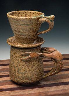 Pour over coffee set crawfish handled mug and by WortmanCoffeePots Coffee Set, Coffee Mugs, Louisiana Crawfish, Work Meals, Pour Over Coffee, Stoneware Clay, Safe Food, Handle, Canning
