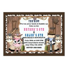 Shop Cowboy & Cowgirl Western Birthday Party Invitation created by printabledigidesigns. Personalize it with photos & text or purchase as is! Cowboy Birthday Party, Cowboy Party, Pirate Party, Birthday Parties, Cowgirl Invitations, Birthday Party Invitations, Cowboy Theme, Cowboy And Cowgirl, Mickey Mouse Parties