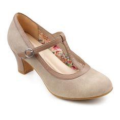 1920s style T-strap shoes : Michelle Heels  - Elegant stretch-fit ladies heels - Flint  Cinder £75.00 AT vintagedancer.com