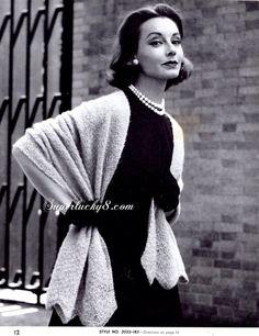 Vintage Wrap PDF knit pattern  one size Wrap  by Superlucky8com