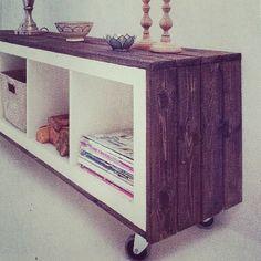 wood framed IKEA expedit (or use bead board)