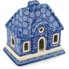 Polish Pottery 5-inch House Shaped Candle Holder | Boleslawiec Stoneware | Polmedia H7801C | Polmedia