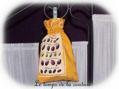 CUISINE - DEVIDOIR - SAC à FICELLE - Tons de jaune, écru, vert et noir - FAIT MAIN