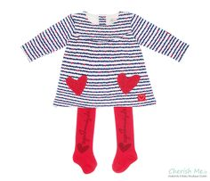 Agatha Ruiz De La Prada dress and tights -Blue and red hearts