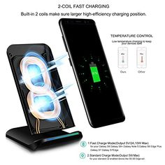 Amazon.com: PLESON PLS-WR-C400 Wireless Charger 2 Coils Cell QI Fast Wireless Charging Pad Stand for Samsung Galaxy S8 Plus S8+ S8 Galaxy S7 S7 Edge Note 5 S6 Edge Plus etc: Cell Phones & Accessories