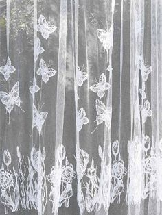Combine embroidery designs to create this beautiful sheer butterfly and floral curtain. Home dec - Embroidery Collection: Line Art Flowers #263