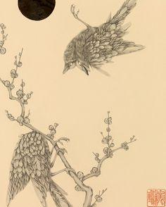 """''ついばみ''8.93"""" x 12.40""""Graphite and colored silver leaf on paper. On view until Oct 8th at @thinkspace_art"""