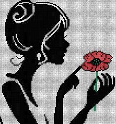 Lady and flower cross stitch