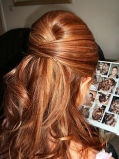 This half-up, half-down hairstyle is quick to do: just interweave your hair in three parts as if you were beginning a braid, then pin. Add waves with a curling iron for extra glamour.