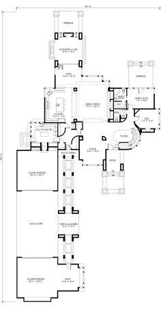 Modern Style House Plan - 4 Beds 4.50 Baths 4750 Sq/Ft Plan #132-221 Floor Plan - Main Floor Plan - Houseplans.com