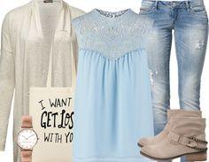 ♥ Casuallook mit Jeans, Cardigan und Blusentop ♥ #blau #boots #usedjeans