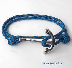 Bracciale uomo ancora cordino paracord.,anchor bracelet man by Velours Noir Crèations, 8,00 € su misshobby.com