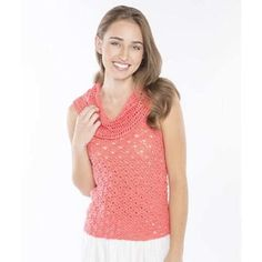Cowl Neck Tank, a lightweight layering tank with a flattering cowl neckline. Free crochet pattern download.