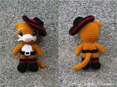 Lil' Puss In Boots Amigurumi - Free Pattern http://littleyarnfriends.com/post/85005698331/crochet-pattern-lil-puss-in-boots *intermediate*