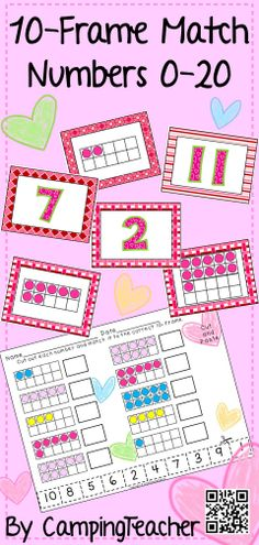Valentines 10-Frame Match Numbers 0-20