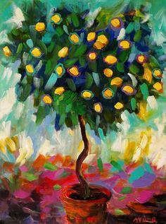 Mona Vivar Lemon Tree Abstract Landscape Original Impressionist Painting Art #Abstract