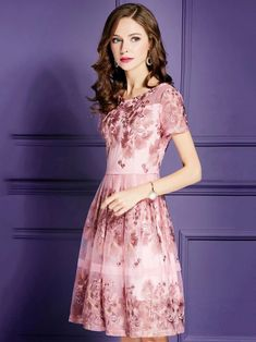 Embroidery O-Neck Short Sleeve Fit Flare Dress