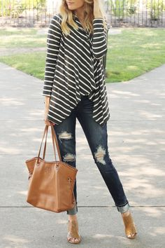Life With Lyss Striped Fall Sweater Outfit Swweater