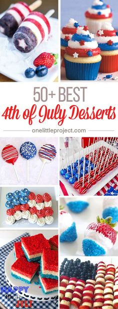 These 4th of July Desserts are SO CREATIVE! I never would have thought there were so many possibilities for red, white and blue treats, but there are, and they're all awesome! Patriotic Desserts, Fouth Of July Desserts, Patriotic Cupcakes, Kid Desserts, Creative Desserts, Awesome Desserts, Party Desserts, Patriotic Party, Blue Desserts