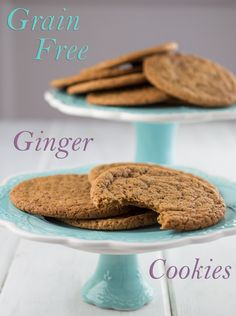 Grain-Free-Ginger-Cookies from A whole New Twist. Paleo-friendly if not strictly paleo - and I don't care anyway, but they look delicious.
