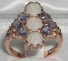 LARGE SOLID 9K ROSE GOLD OPAL  TANZANITE 9 STONE RING - amp, Gold, Large, Opal, Ring, Rose, solid, Stone, Tanzanite