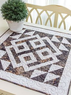 A modern Celtic design. I would love to do this quilted table topper, but in different colours. #pattern #quilting #quilts #miniquilt #Celtic #affiliate