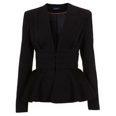 Купить Miss Selfridge пресечено в пеплум куртка, черная Сейчас на сайте johnlewis.com