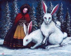 The Rabbit Maid Original White Rabbits Russian by mygoodbabushka Rabbit Run, Evergreen Forest, White Rabbits, Winter Scenes, Archetypes, Maid, Fairy Tales, Original Paintings, The Originals