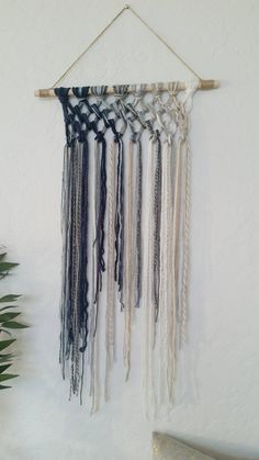Tapestry Macrame Yarn Tapestry Yarn Wall Hanging Wall Tapestry Blue Beige White and Gray Wal Yarn Wall Art, Yarn Wall Hanging, Wall Hangings, Hanging Planters, Yarn Crafts, Diy Crafts, Grey Wall Decor, Yarn Colors, Artisanal