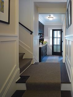 Linden Hills Cottage - Rehkamp Larson Architects--amazing wainscoting, dark floors, dark doors, white trimwork