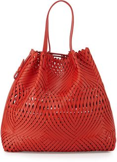 Nina Ricci Pamina Woven Leather Tote Bag w/ Wallet, Red #1010ParkPlace