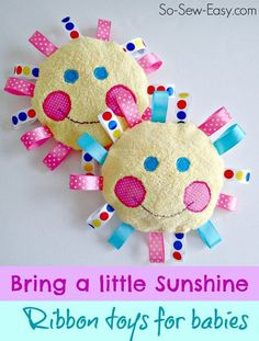 Quick, easy to make handmade baby toys. Made with soft and snuggly fabrics and shiny satin ribbon tags, babies and toddlers will love these handmade toys.