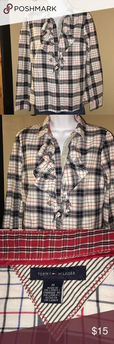 Women's Tommy Hilfiger Ruffled Blouse Women's Tommy Hilfiger Ruffled Button Down Blouse size Medium Tommy Hilfiger Tops Button Down Shirts
