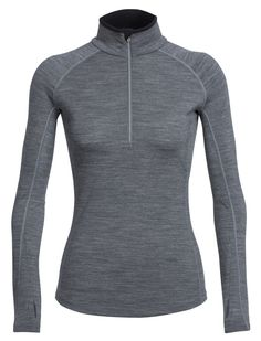 Icebreaker Merino Women's Zone Long Sleeve Half Zip, Gritstone Heather/Snow, Medium. Anatomical cut for superior fit. Zip neck collar for temperature regulation. Strategically placed Merino mesh for ventilation. Flatlock seams prevent chafing. Dropped font and back hem for added coverage.