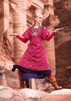 """""""Fatime"""" dress in linen & cotton – Fatime – earth patterns – GUDRUN SJÖDÉN – £65"""
