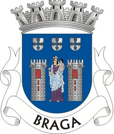 Coat of Arm of the Northern City of Braga, in Portugal. Braga Portugal, History Of Portugal, Medieval Shields, Family Shield, City Logo, Religious Architecture, Flags Of The World, Family Crest, Roman Empire