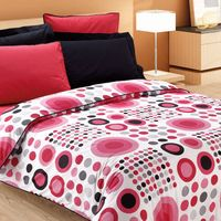 $125 Custom Queen Size Red and Black Dotted Print Bedding Set