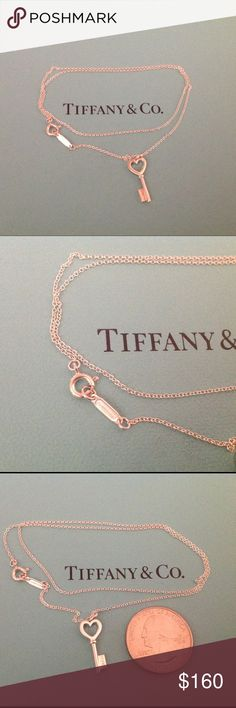 "Tiffany & Co. Heart Key Necklace NEW authentic sterling silver Tiffany mini heart key necklace.  Key is .75"" and chain is 16"". Very cute and dainty, comes with box and pouch. Price firm. Tiffany & Co. Jewelry Necklaces"