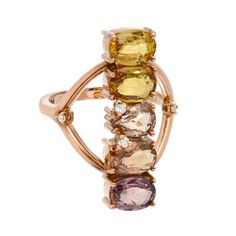 Rose Gold ombre Sapphire and Diamond ring. Size in stock. Please inquire about sizing. Stone Rings, Band Rings, Jewelry Rings, Fine Jewelry, Jewellery, Rose Gold Ombre, Sapphire Diamond, Statement Rings, Colored Diamonds